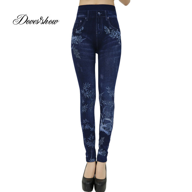 140727795bd22 Fashion Slim Women Leggings Faux Denim Jeans Leggings Sexy bamboo Printing  Summer Leggings Casual Pencil Pants Women Clothing