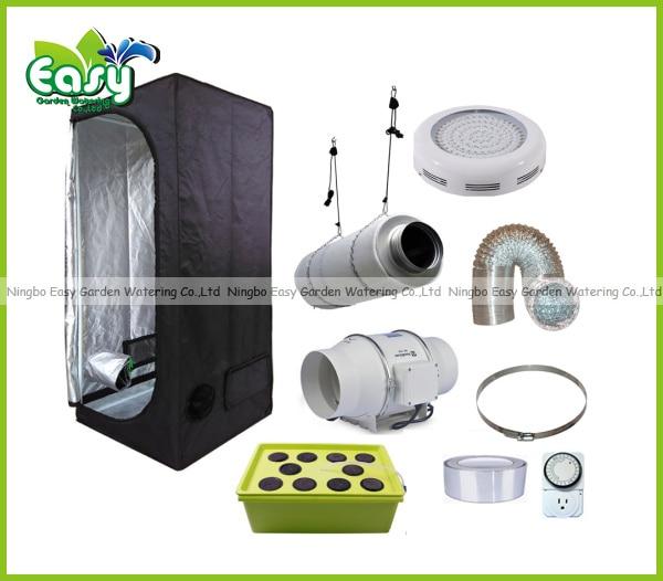 Hydropoinics complete indoor grow tent kits 60x60x140cm for Indoor gardening ventilation system