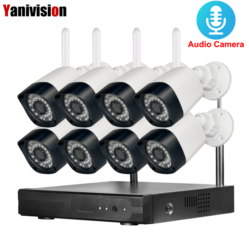 8CH Wifi NVR Kit 720P Wireless Security Camera System HD Outdoor IP Camera Waterproof Wifi Surveillance CCTV Camera System hikvision wireless home security camera system 720p mini wifi pt ip camera ds 2cv2q01fd iw 8ch wireless nvr ds 7108ni e1 v w 6mp