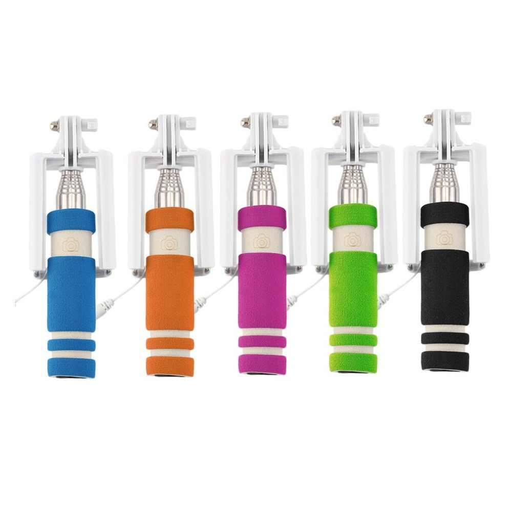 Stainless Steel Warna-warni 14-60 Cm Mini Dapat Diperpanjang Handheld Selfie Stick Kabel Remote Rana Monopod untuk Semua Merek Sel telepon
