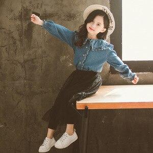 Image 4 - احدث اسلوب مجموعة ملابس الأطفال الاطفال الفتيات قطعتين مجموعة الجينز قمصان و تنورة دانتيل السراويل في سن المراهقة شبكة سوداء 12Y