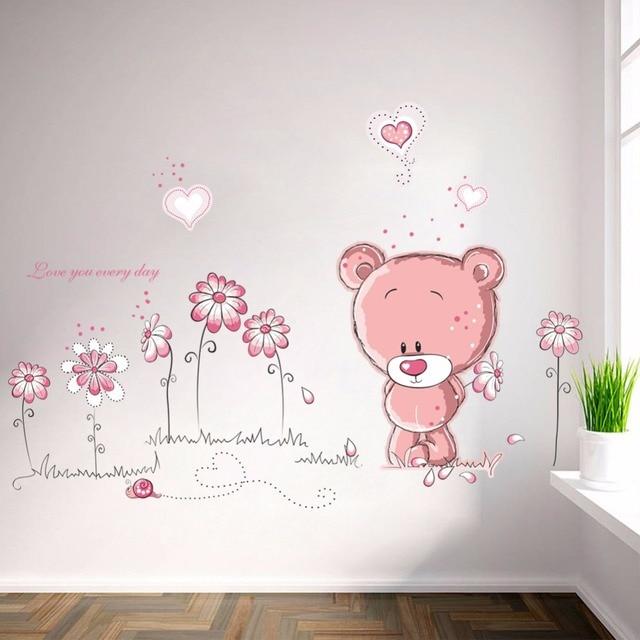 cartoon cute pink lanimal bear flower baby children kids bedroom ...