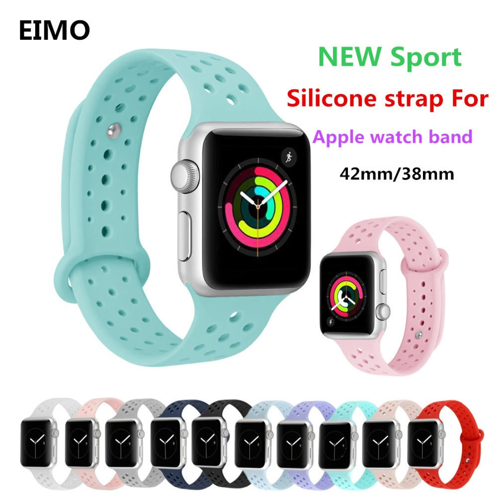 Sport band For Apple watch correa aple watch 4 44mm 40mm 42mm 38mm Silicone bracelet wrist watchbands Nike iwatch series 4/3/2/1 цена