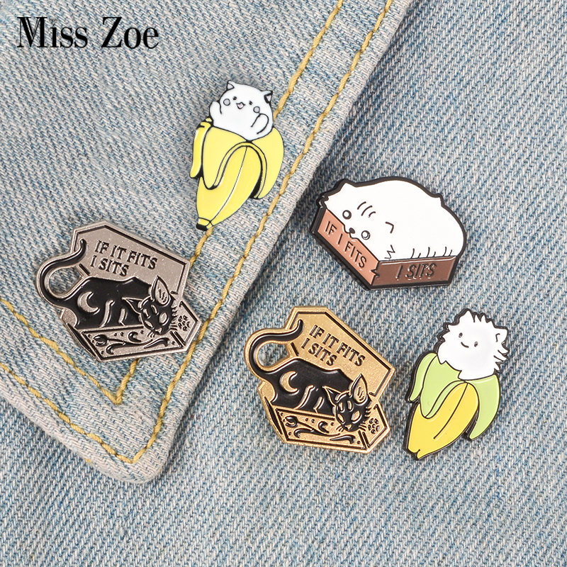 Home Reasonable Hot Cat Banana Enamel Pins Cartoon Animal Fruit Brooches Badge Denim Jeans Lapel Pin Cute Kitten Jewelry Gift For Friends Kids