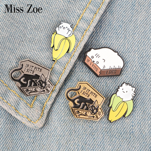 Cat Box Banana Kitten Enamel Pins Fun Animal Brooch Badge Denim Shirt Lapel Pin Cartoon Punk Jewelry Gift for kids friends(China)