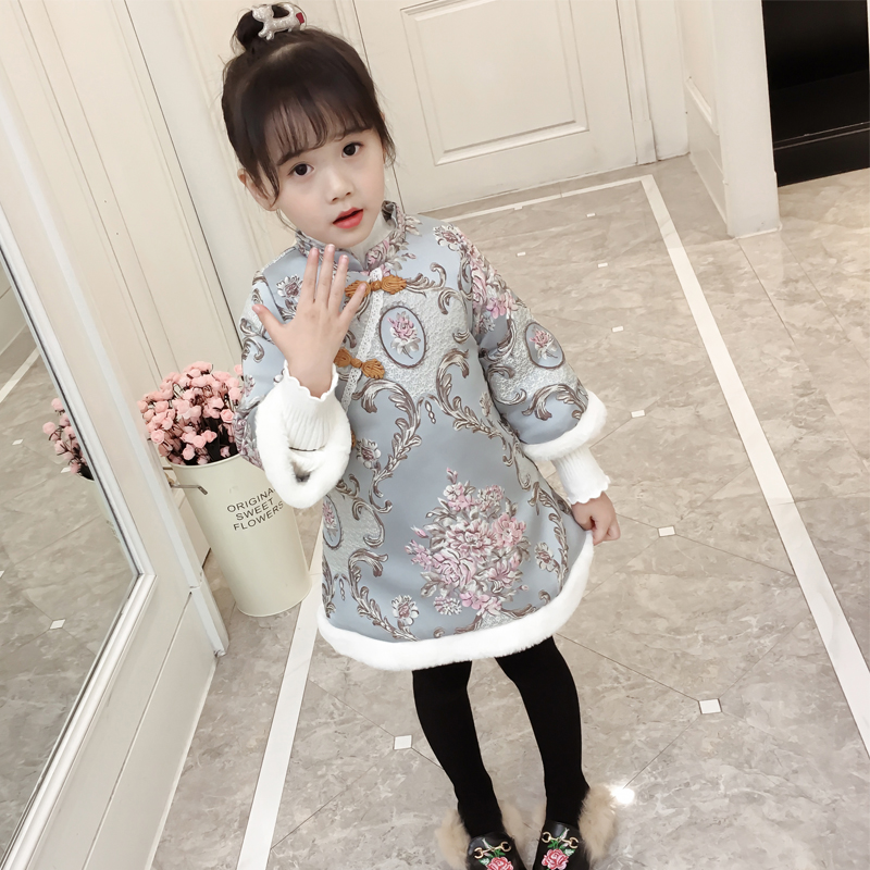 83a35889a3f 2018 Chinese blue and white porcelain embroidery Girls Dress baby winter  thickening cheongsam dress kids Plush dress