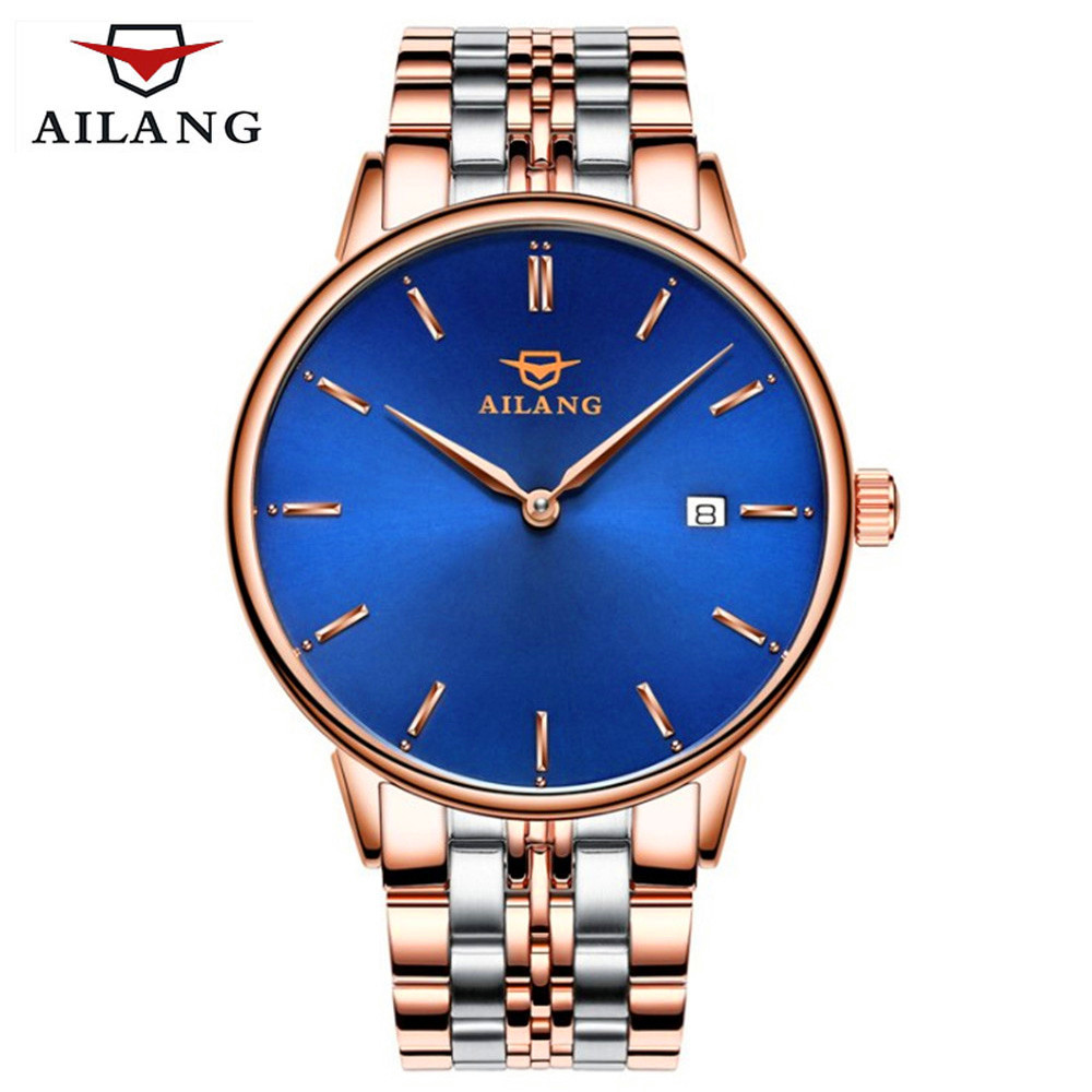 AILANG Mens Watches Top Brand Luxury New ultra-thin Automatic Mechanical Watch Sapphire Simple Fashion Watch Relogio Masculino ultra luxury 2 3 5 modes german motor watch winder white color wooden black pu leater inside automatic watch winder