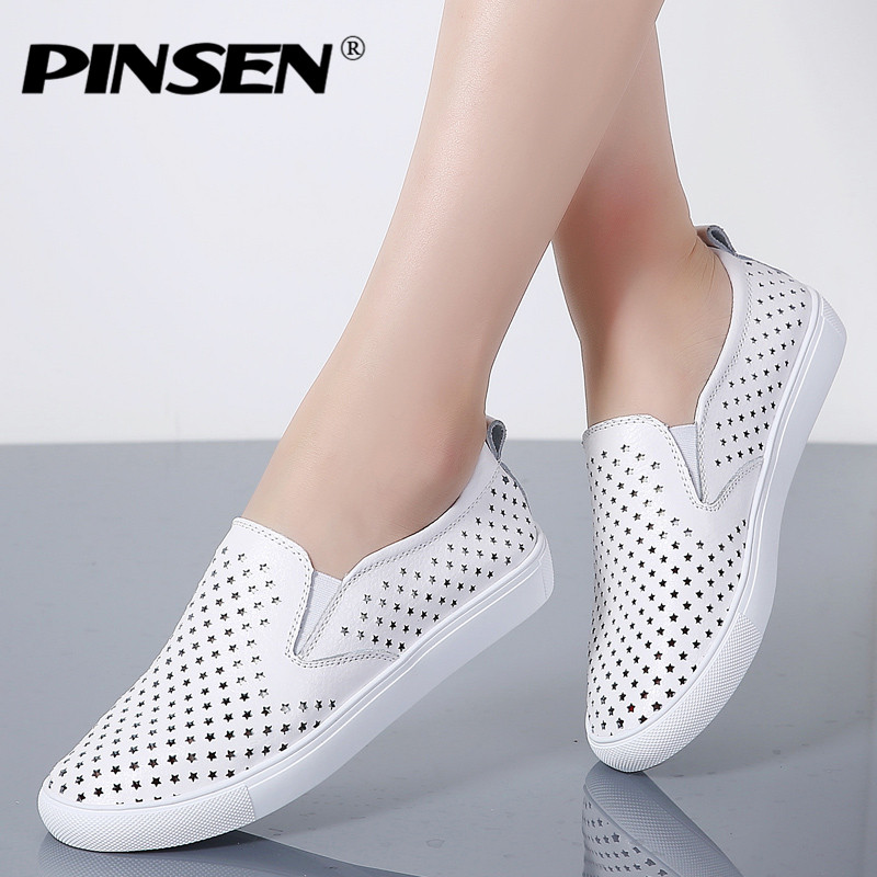 PINSEN 2018 High Quality Fashion Women Flats Loafers Casual Leather Shoes Woman Loafer Slip On Shoes For Women Moccasins slipony pinsen brand high quality women genuine leather shoes slip on flats handmade shoes loafers mocassin flat women s shoes slipony