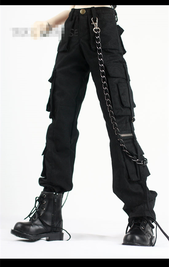 Cool Black Belt Pockets Pants Army Pants for BJD 1/4 MSD 1/3,SD17,Uncle SSDF Doll Clothes Free Chain CMB35-1