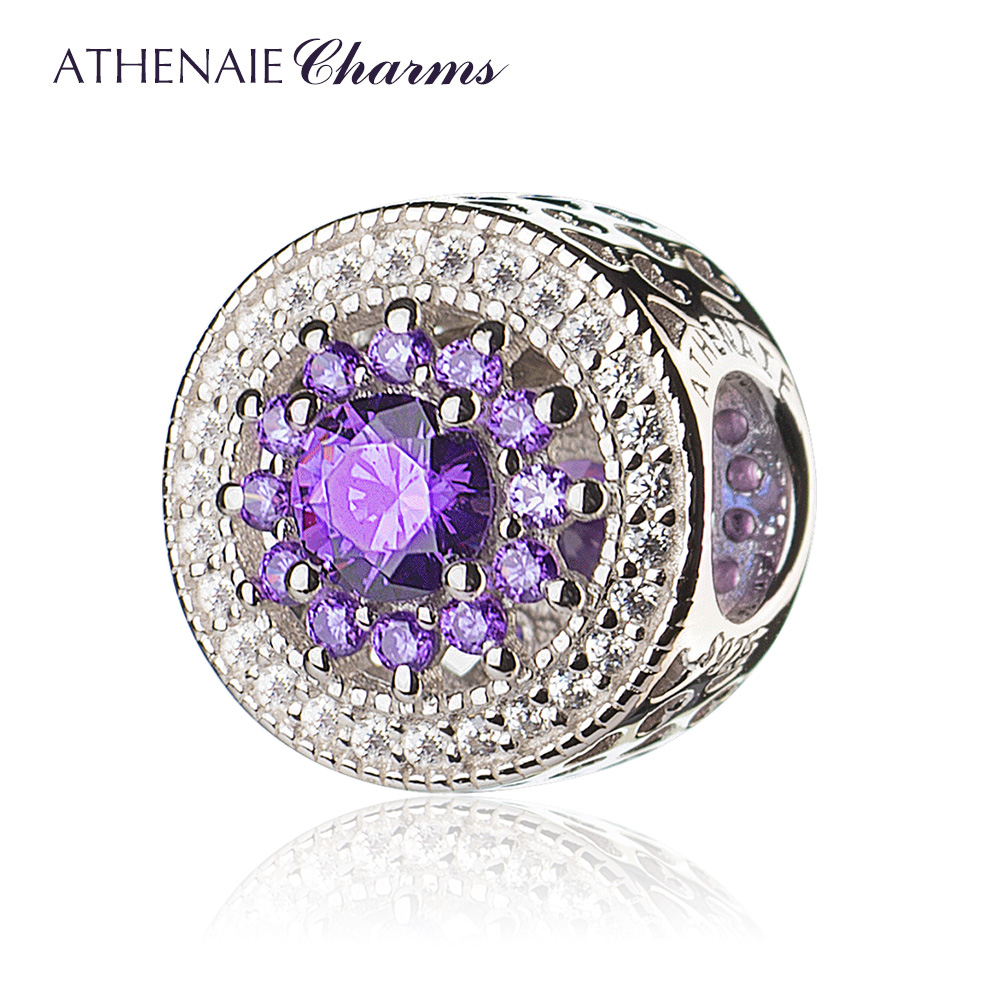 ATHENAIE 925 Sterling Silver with Pave Clear CZ & Purple Heart Radiant Openwork Charm Beads Gift for Birthday, Anniversary DayATHENAIE 925 Sterling Silver with Pave Clear CZ & Purple Heart Radiant Openwork Charm Beads Gift for Birthday, Anniversary Day