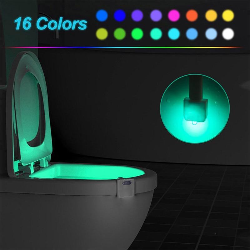 16/8 Colors Smart Body Sensing LED Motion Sensor Night Lamp Toilet Bowl Bathroom Backlight For Emergency WC Seat Lights