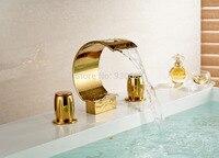 3ชิ้นโกลเด้นห้องน้ำน้ำตกก๊อกน้ำอ่างล้างจานคู่จับผสมวาล์วอ่างก๊อกน้ำ