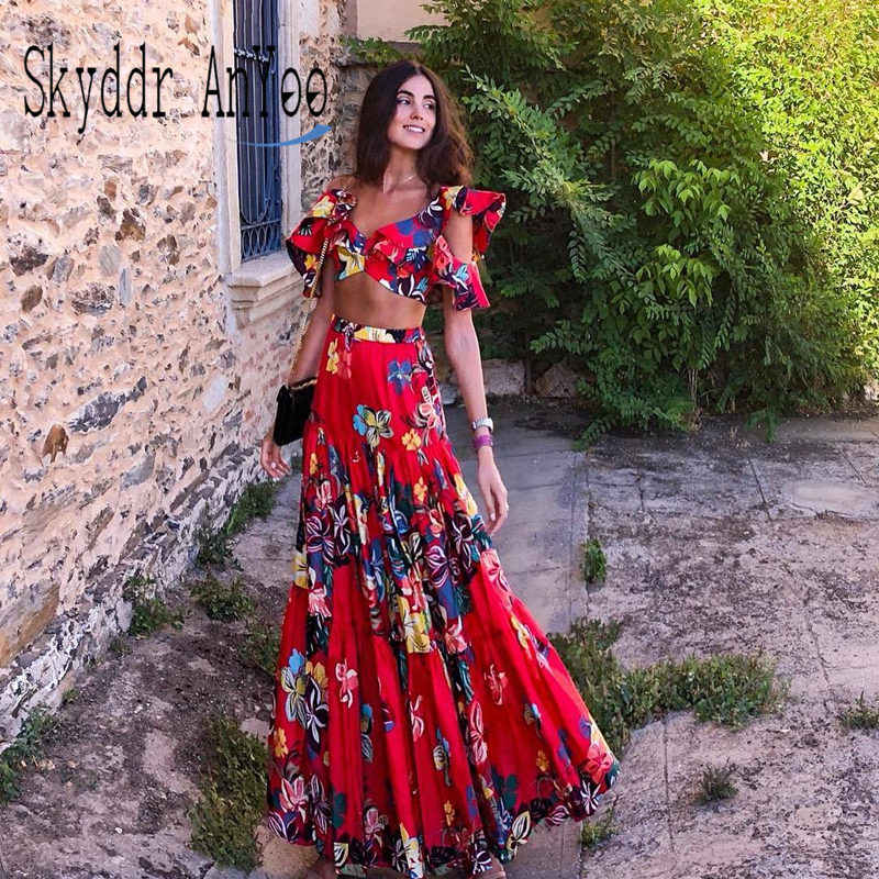 Women Two Piece Set Summer Maxi Dress Floral Printed Sexy Spaghetti Straps Red Boho Beach Dress Long Dress Vestidos