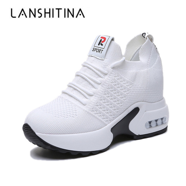 $ US $20.75 New Women Summer Mesh Platform Sneakers Trainers White Shoes 9.5CM High Heels Wedges Outdoor Shoes Breathable Casual Shoes Woman