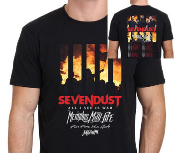 SEVENDUST 2018 Tour T-Shirt Men's Black Size From S-3XL Tees Brand Clothing Funny T Shirt Top Tee Harajuku Funny Tops image
