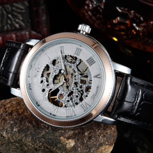 New Fashion Synthetic Leather Strap Watches Senior Gem Glass Manual Mechanical Men's Watches     LXH