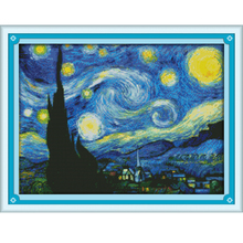The Starry Night of Van Gogh DIY Needlework Embroidery  Painting scenery Pattern design Home Decoration