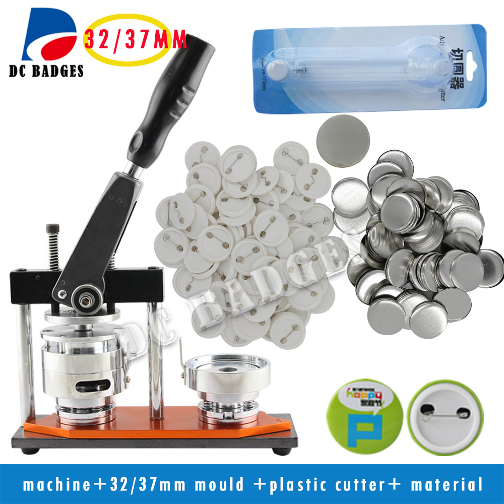 Free Shipping button making machine with 32/37mm mould +Circle Cutter | pack with 32mm/37mm pin badge each 500pcs free shipping new pro 1 1 4 32mm badge button maker machine adjustable circle cutter 500 sets pinback button supplies
