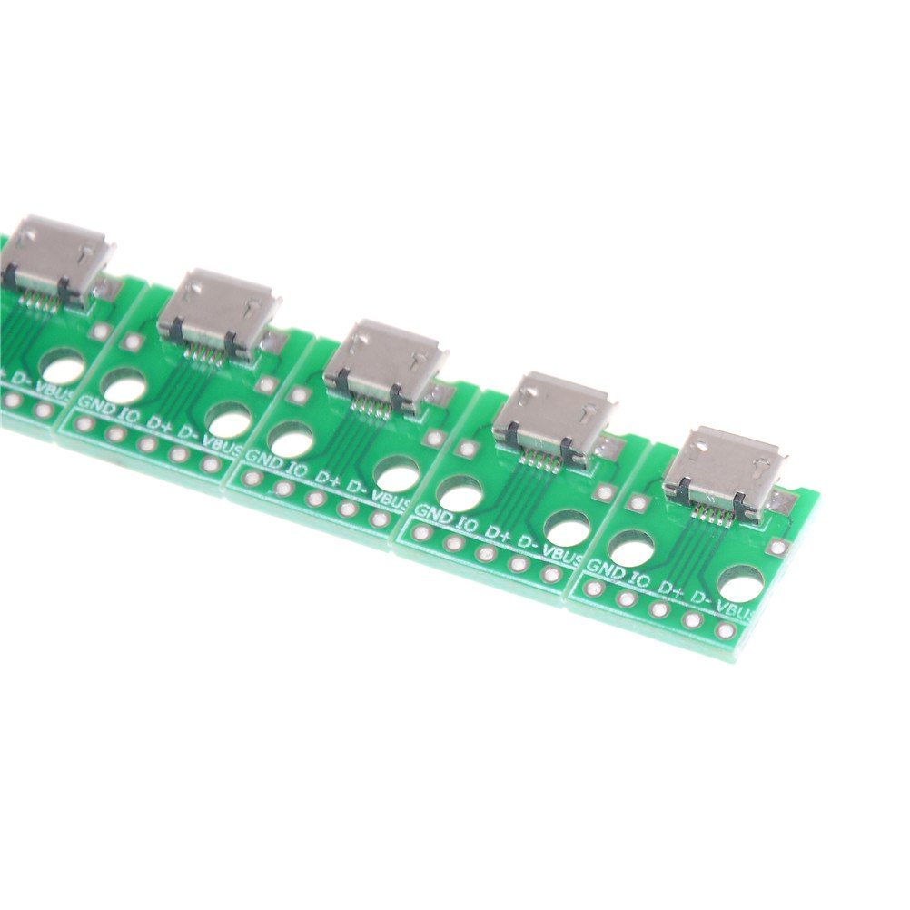 10pcs Female 5-Pin Pinboard Mini <font><b>Micro</b></font> <font><b>USB</b></font> to DIP 2.54mm Adapter <font><b>Connector</b></font> Module Board Panel 2.54mm <font><b>Micro</b></font> <font><b>USB</b></font> <font><b>PCB</b></font> Type Parts image