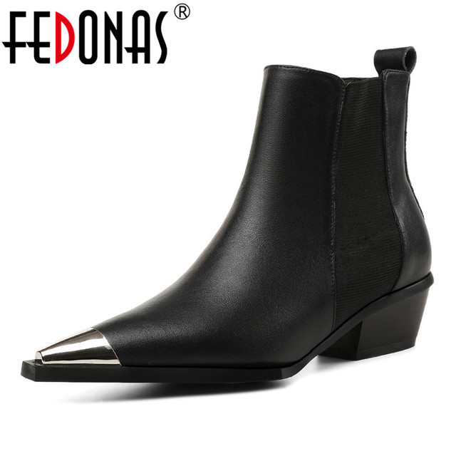 ca8a9d5ca FEDONAS New 2019 Women Ankle Boots Sexy Metal Toe Autumn Winter Martin Shoes  Woman Night Club Dancing Pumps Brand Basic Boots
