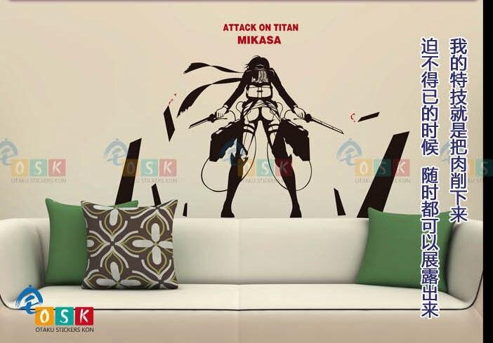 Pegatina аниме мультфильм автомобиль Стикеры атака на Титанов Mikasa Акерман стены винила Стикеры s Наклейка Декор украшения дома