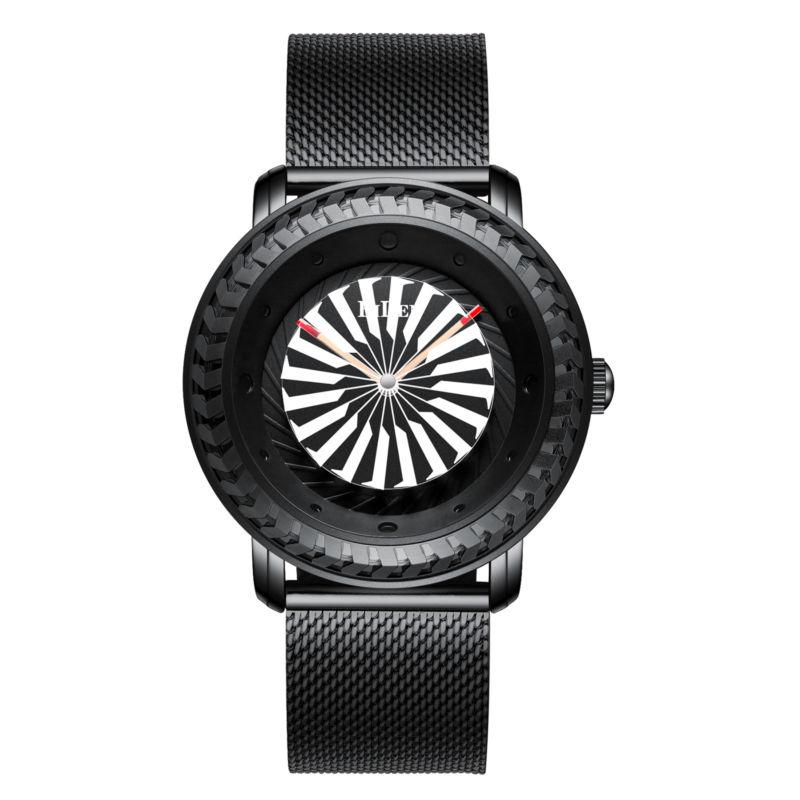 Top Brand Unique Turntable Dial Business Men Quartz Wrist Watch With Mesh Bracelet Fashion Waterproof Luxury Watches Best Gift