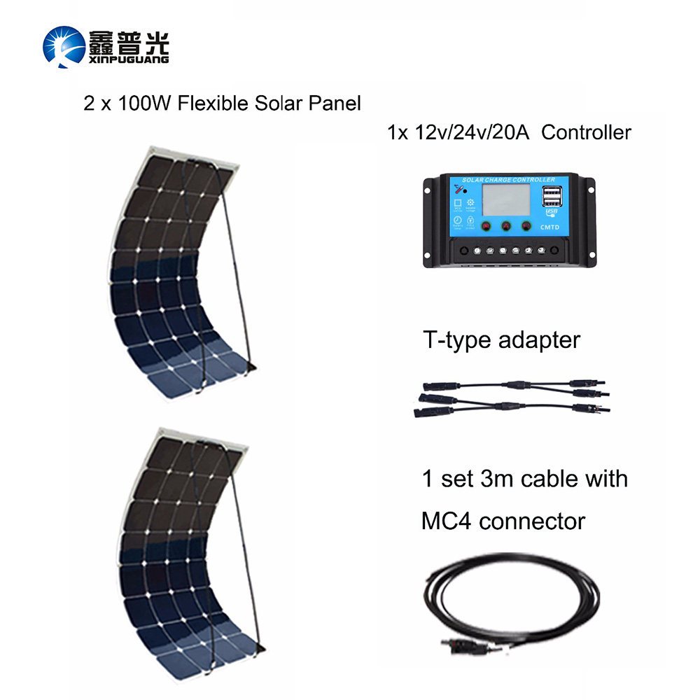 Flexible Solar Panel 2pcs 100w Cable 12v Or 24v 20a Controller Usb Output House 200w Kits Diy System Solar Power Station Home boguang 6x100w solar system kits 600w flexible solar panel controller inverter cable adaptor for12v 24v rv marine camping home