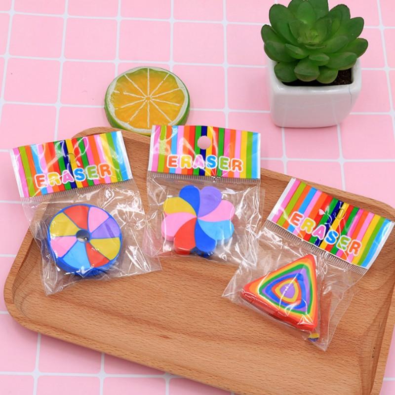 Купить с кэшбэком 2pcs/lot Creative cartoon colorful students eraser children Learning stationery kawaii school supplies papelaria gift for kids