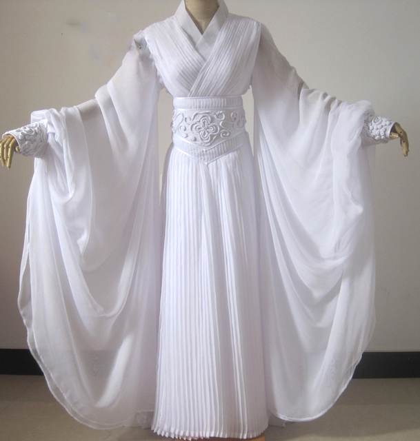 217bd0afa3f55 US $135.0 |Liu YiFei Embroidery White Dragon Fairy Costume for TV Play The  Condor Heroes Xiao LongNv Drama Costume Hanfu -in Chinese Folk Dance from  ...