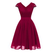 Szata de soiree elegancka koronka suknia wieczorowa haft wieczorowa suknia bankietowa sukienki wizytowe szyfonowa suknia tanie tanio Suknie wieczorowe CHRISTMAS V-neck NONE Poliester Koronki Suknia balowa Krótki Kolan Naturalne Bez rękawów NMZDN-CD1646