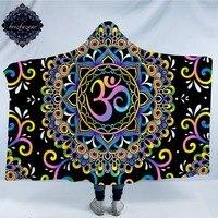DoodleOhm by Brizbazaar Hooded Blanket Mandala Flower Sherpa Wearable Blanket Colorful Pink Purple Blue Yellow Throws 150x200cm