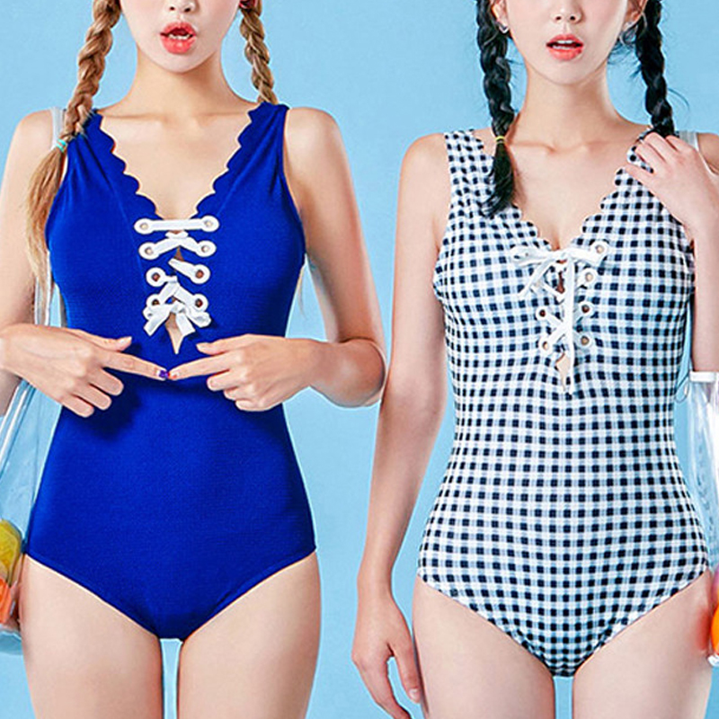 2018 Women One Piece Swimsuit Backless Solid Swimwear Vintage Sexy Monokini Bandgae Ladies Beach Wear Maillot De Bain Femme women solid one piece swimsuit halter backless bandage bodysuit monokini deep v neck sexy high waist vintage beach wear page 6