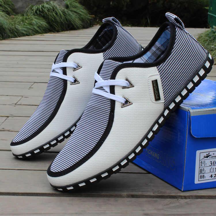 GOXPACER ฤดูใบไม้ผลิและฤดูใบไม้ร่วง 2018 รองเท้าผู้ชายใหม่สบายๆรองเท้าผสมสีรองเท้า Lacing แฟชั่นผู้ชายรองเท้าหนัง Breathable Flats