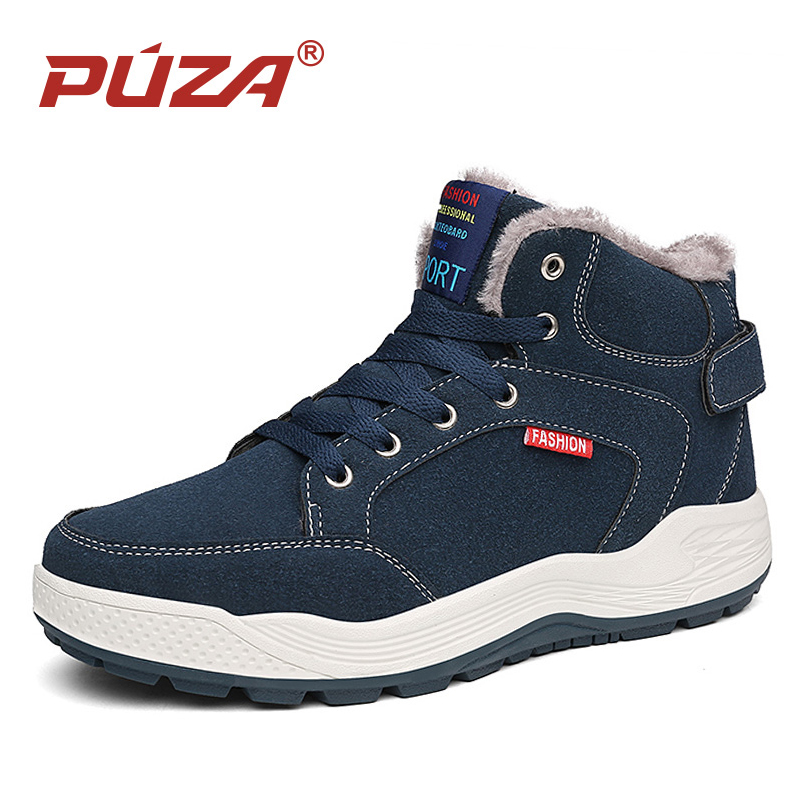 Puza Mens Winter Plus Fur Sneakers Outdoor Leather Suede Hiking Boots Climbing Mountain Trekking Camping Sport Shoes Big Size winter outdoor travel walking sport shoes genuine leather women breathable hiking shoes ankle boots climbing sneakers big size