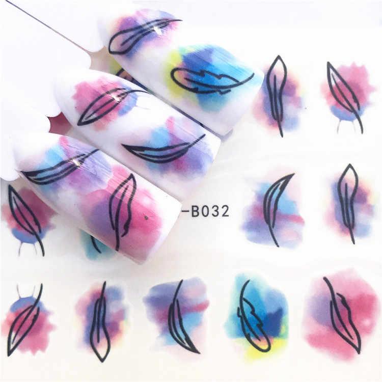 1 個ピンク紫水彩ローズネイルステッカー花 PPlants 水デカール猫パターン 3D マニキュアステッカーネイルアートデコレーション
