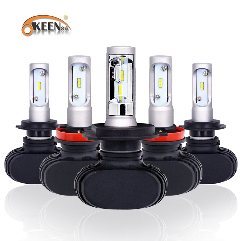 OKEEN 12V Single Beam S1 Led Headlight Bulb With Philips Chip H7 LED 50W 13600LM H1 H3 H11 9005 9006 LED Light Bulbs For All Car