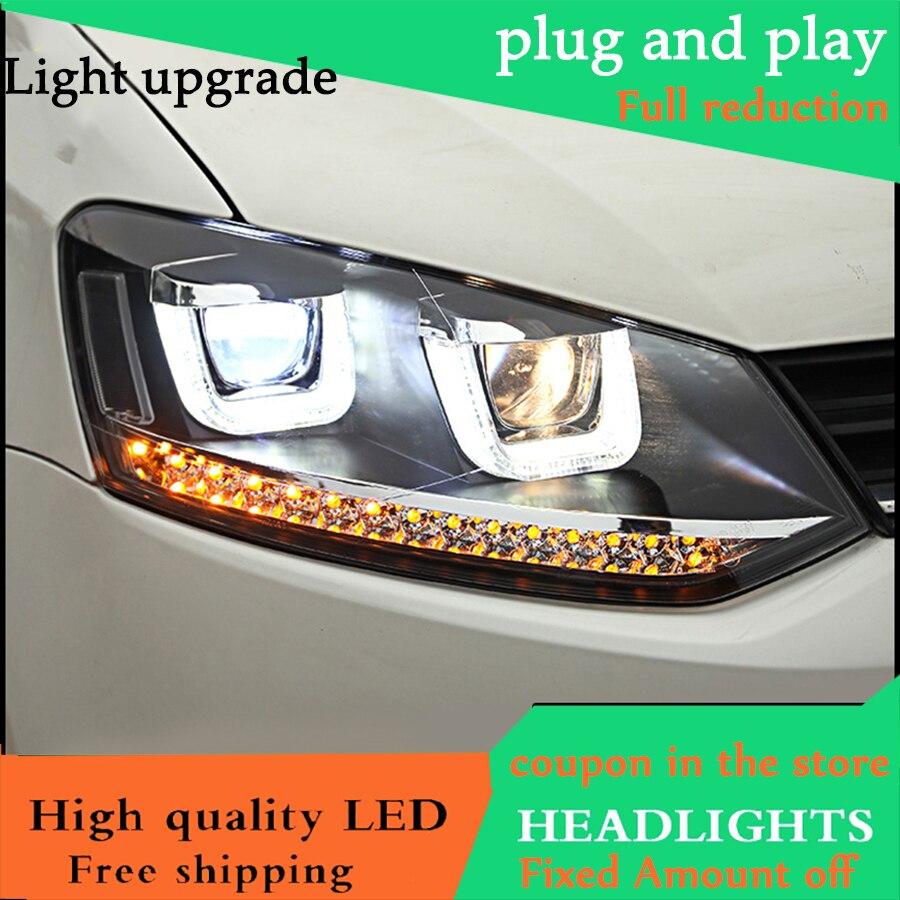 Car Styling Head Lamp Case For VW Polo Headlights 2010 2016 Polo GTI U Angel Eyes