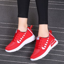 Fashion Summer Sneakers Solid Color Mesh Casual Shoes Women Breathable Flying Woven Sneakers Lace-up Running Woman Shoes