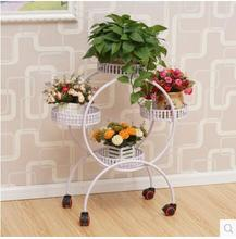 Ou, wrought iron multilayer wheeled mobile push-pull flower console other balcony sitting room indoor pot frame