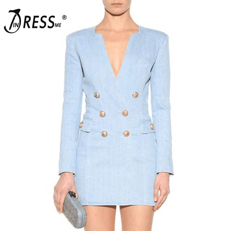 INDRESSME Sexy Deep V Button Women Blazers Dress Fashion Solid Blue Full Sleeve Women 2019 Winter