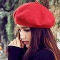 Mulheres gorro de lã clássico chapéu de feltro francês beret quente pure color doce mini cap