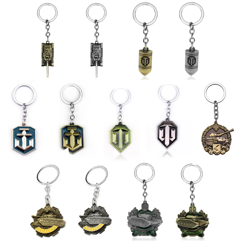 Hot Sale Game World of Tanks Keychain WOT Metal Bullet Tank Badge Key Ring Pendant Car Bag Chaveiro Men Jewelry