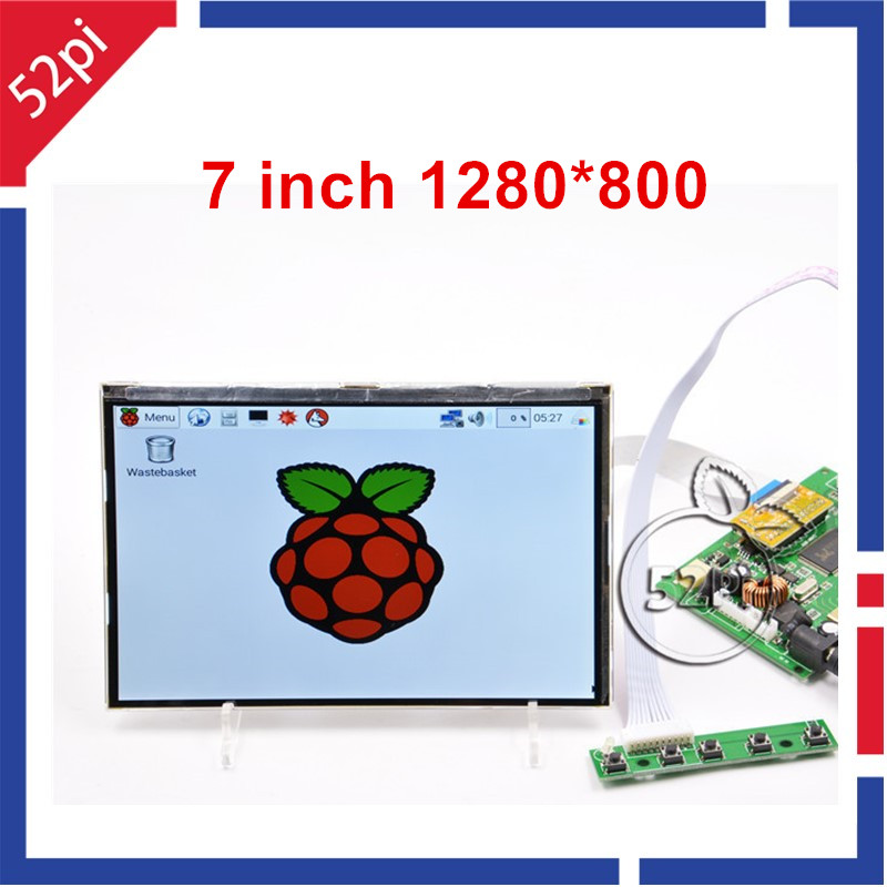 52Pi 7 inch 1280*800 IPS LCD Display Screen Monitor with HDMI+VGA+2AV LCD Driver Board For Raspberry Pi / PC Windows vga 2av revering driver board 8inch 800 600 lcd panel ej080na 05b at080tn52
