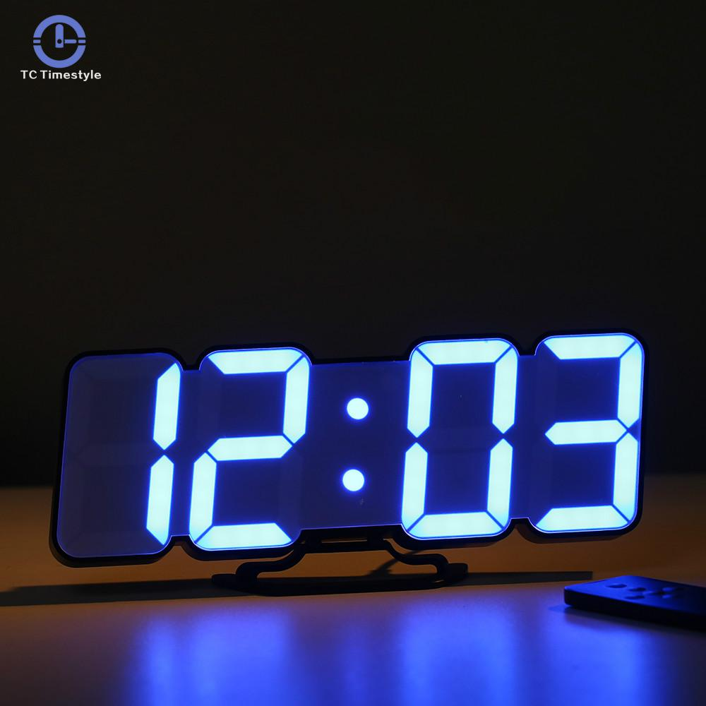 3D Wireless Remote Night Wall Clock Multiple Color Variations 24 Or 12 Hour Display Voice Control Table Digital Alarm Clocks