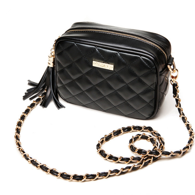 Casual Quilted Leather Handbags Women Messenger Bag Small Tote Tassel Shoulder Bags Mini Chain Clutch