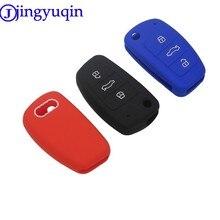 Jingyuqin 10 adet 3 düğmeler araba silikon anahtar Flid katlanır kapak durumda kapak Fob kabuk için Audi A1 A3 Q3 q7 R8 A6L TT anahtar kutu