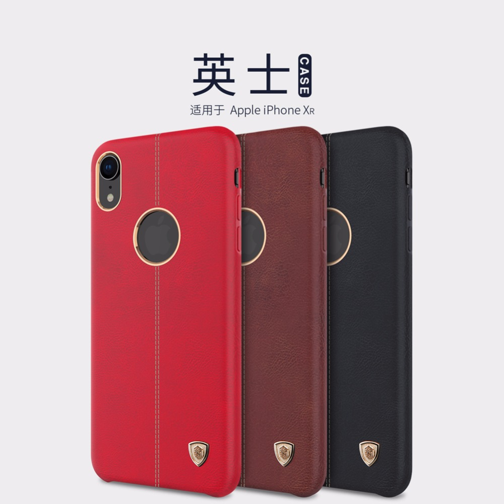 leather back cover for iphone XR Nillkin Englon case for iphone XR luxury PU Leather case Vintage back cover(China)