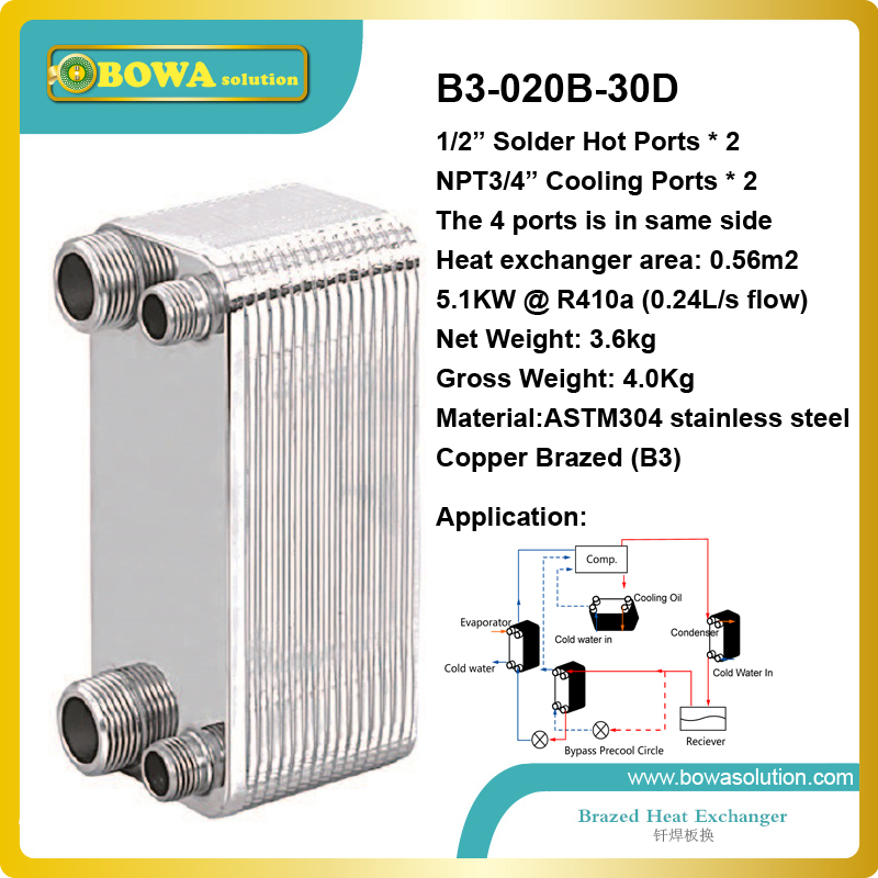 B3-020-30 R410a brazed stainless steel plate heat exchanger 5.1KW capacity work as condenser of heat pump 15kw r410a to water and 4 5mpa plate heat exchanger is working as condenser in compact size heat pump water heaters