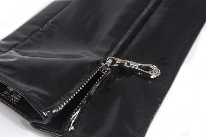 60 см (23,6 ) Средняя невидимая молния стиль настоящая лакированная кожа опера длинные перчатки черный - 6