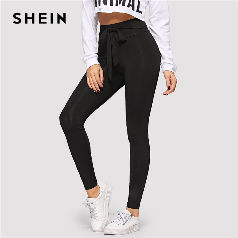 4eaaaaab10 SHEIN Black Tie Waist Drawstring Solid Skinny Leggings Women 2019 Spring  Active Wear Leisure Casual Workout